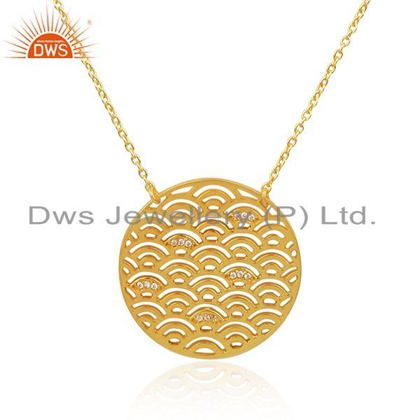 Indian Wholesaler of White Zircon Gold Plated Sterling  Silver Designr Chain Pendant