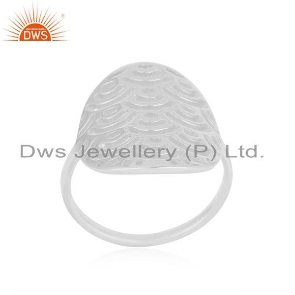 Indian Supplier of White Rhodium Plated Sterling Silver Designer Ring For Womens Jewelry