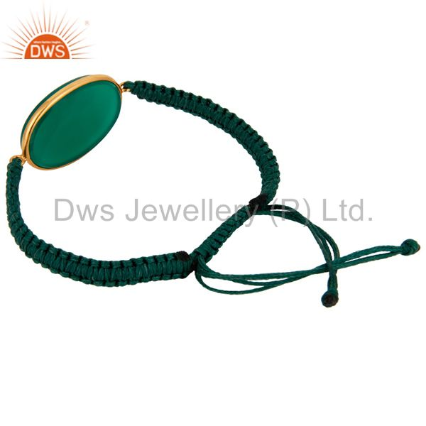 Manufacturer of Natural Green Onyx Gemstone 24k Gold Plated 925 Silver Macrame Bracelet Jewelry