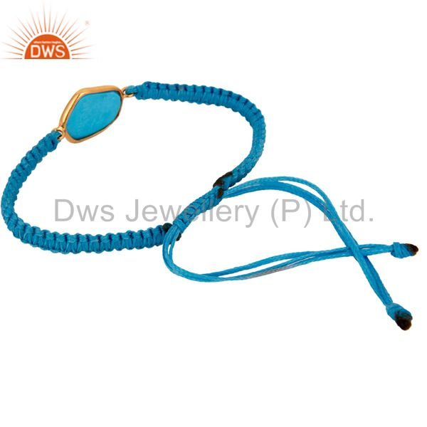 Supplier of Gold Plated Sterling Silver Turquoise Gemstone Thread Macrame Bracelet Jewelry