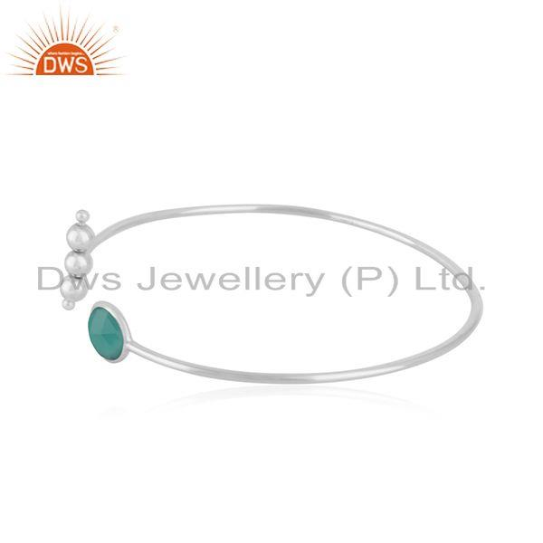 Indian Manufacturer of Fine Sterling Silver Handmade Green Onyx Gemstone Cuff Bangle Supplier