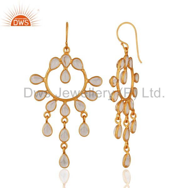 Wholesale Shine Gold Plated 925 Sterling Silver Crystal Quartz Gemstone Earring