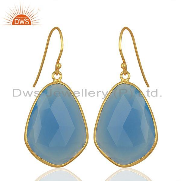 Wholesale Blue Chalcedony Gemstone 925 Silver Gold Plated Earrings Jewelry