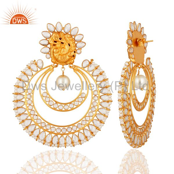 Manufacturer of Handmade Gold Plated Sterling Silver And Pearl Beautiful Bridal Fashion Earrings