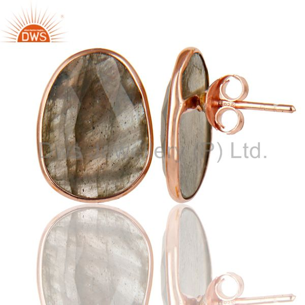 Manufacturer of 18K Rose Gold Plated 925 Sterling Silver Handmade Labradorite Studs Earrings
