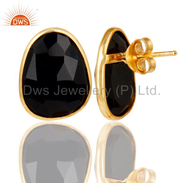 Wholesale 18k Yellow Gold Plated 925 Sterling Silver Checkered Black Onyx Studs Earrings