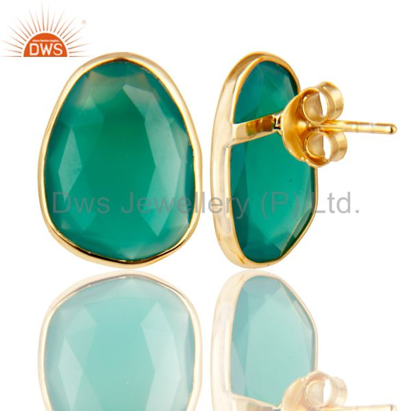 Supplier of 18k Yellow Gold Plated 925 Sterling Silver Checkered Green Onyx Studs Earrings