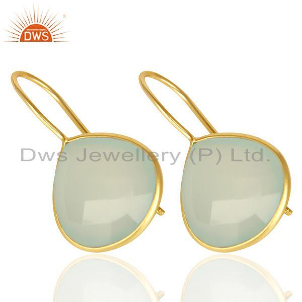 Supplier of Auq Chalcedony Heart Drop Earring 14K Gold Plated 92.5 Sterling Silver Earing