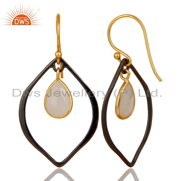 Wholesale 18K Gold Plated & Oxidized 925 Sterling Silver Rainbow Moonstone Drops Earrings