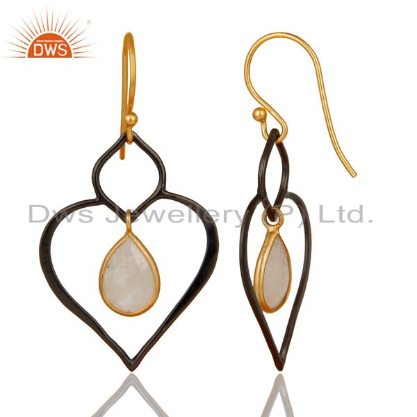 Manufacturer of 18K Gold Plated & Oxidized 925 Sterling Silver Rainbow Moonstone Dangle Earrings