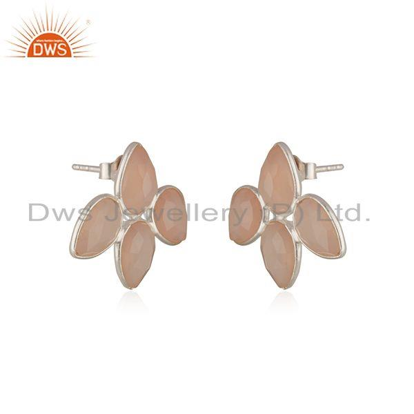 Supplier of Rose Chalcedony Gemstone Sterling Silver Stud Earring Wholesaler India