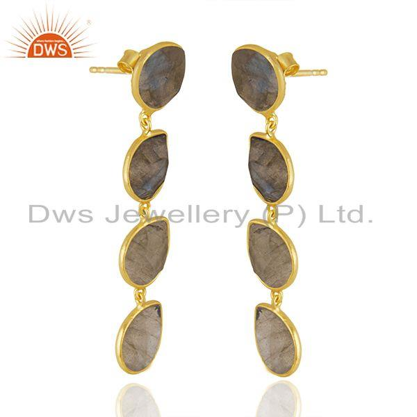 Manufacturer of Labradorite Gemstone Designer Gold Plated Silver Dangle Earrings Jewelry