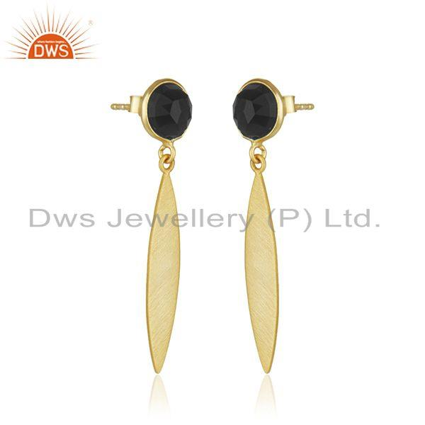 Indian Manufacturer of Handcrafted Gold Plated Sterling Silver Black Onyx Gemstone Earrings