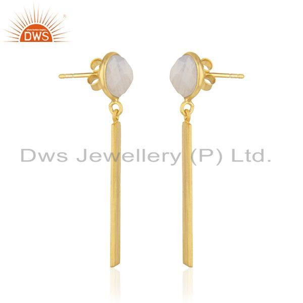 Indian Supplier of Rainbow Moonstone Yellow Gold Plated Sterling Silver Earrings Supplier