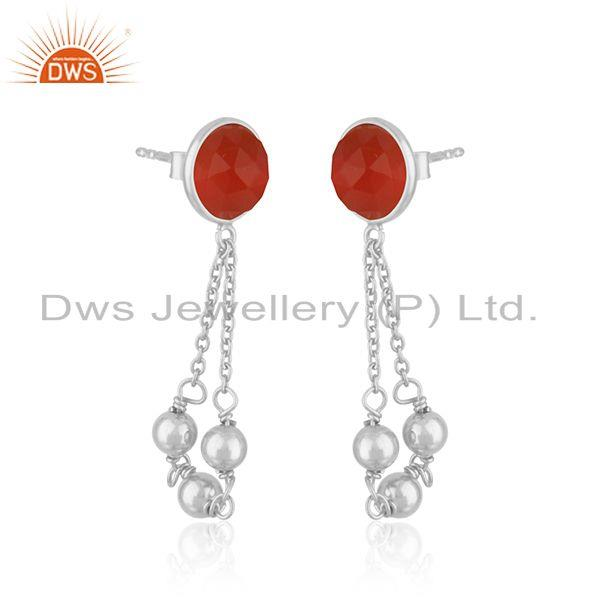 Indian Wholesaler of Red Onyx Gemstone Designer Fine Sterling Silver Chain Earring Supplier