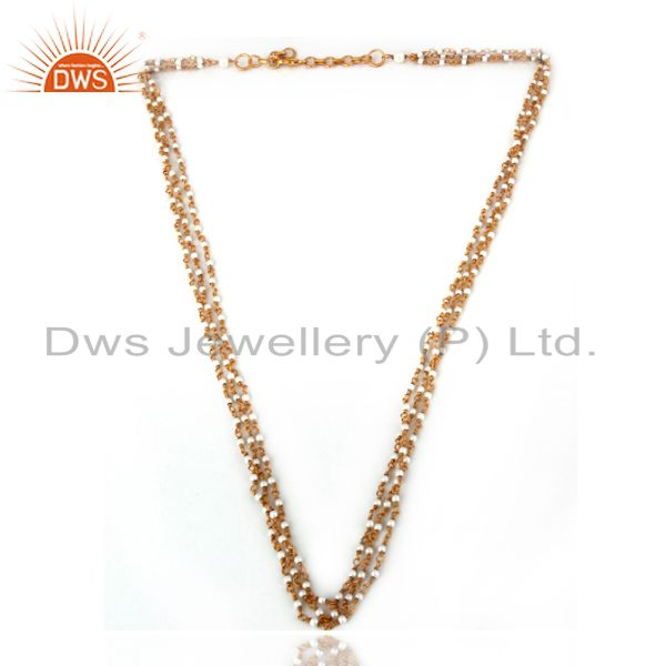 Wholesale 18K Gold Plated Sterling Silver Whitel Pearl Beaded Three Layered Chain Necklace