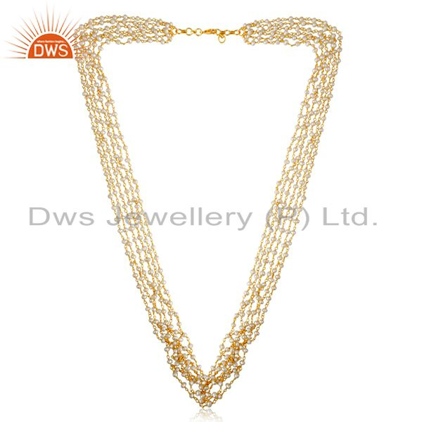 Manufacturer of 18K Gold Plated Sterling Silver Natural Pearl Beaded Multi Layered Necklace