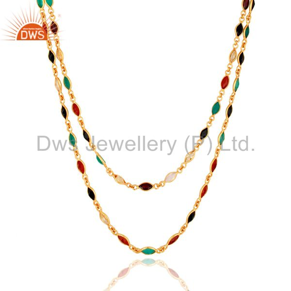 Wholesale 14K Gold Over Sterling Silver Multi-Colored Gemstones Double Layers Necklace 16
