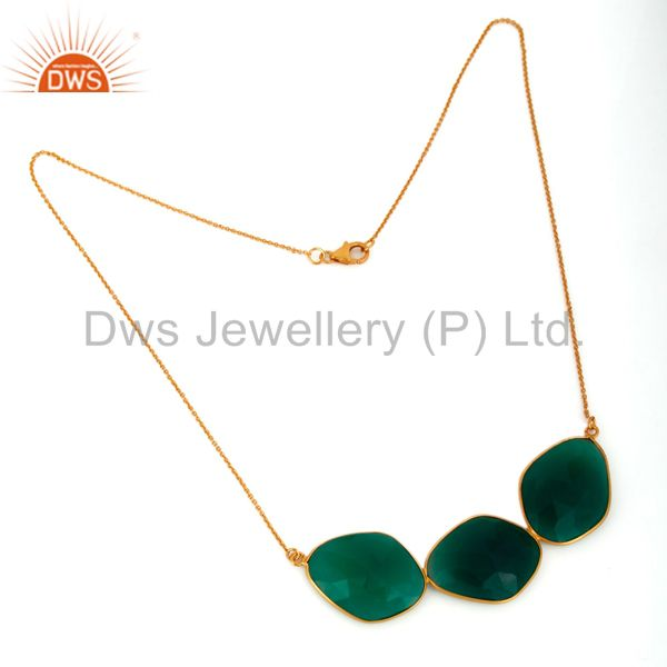 Supplier of Large Fancy Green Onyx Sliced Necklace In 18K Gold Over Sterling Silver Jewelry