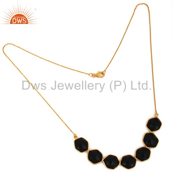 Manufacturer of Handmade 925 Sterling Silver Black Onyx Faceted Gemstone Gold Plated Necklace
