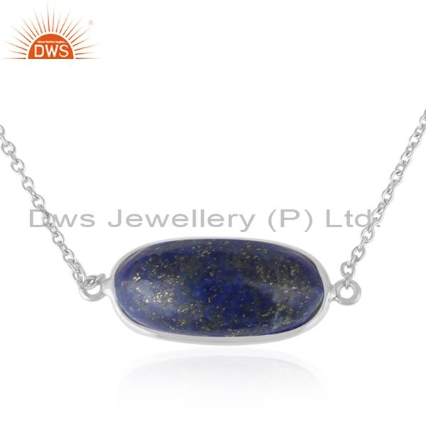 Manufacturer of Handmade Fine Sterling Silver Designer Lapis Lazuli Gemstone Necklace
