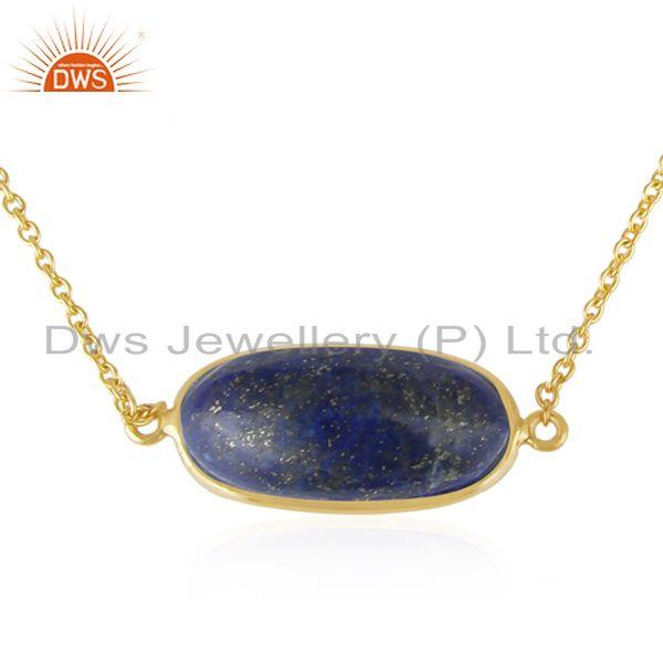 Supplier of Lapis Lazuli Gemstone Handmade Gold Plated 925 Silver Necklace Jewelry