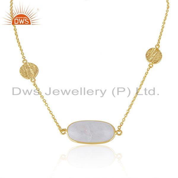 Wholesale Handmade 925 Sterling Silver Gold Plated Rainbow Moonstone Necklace
