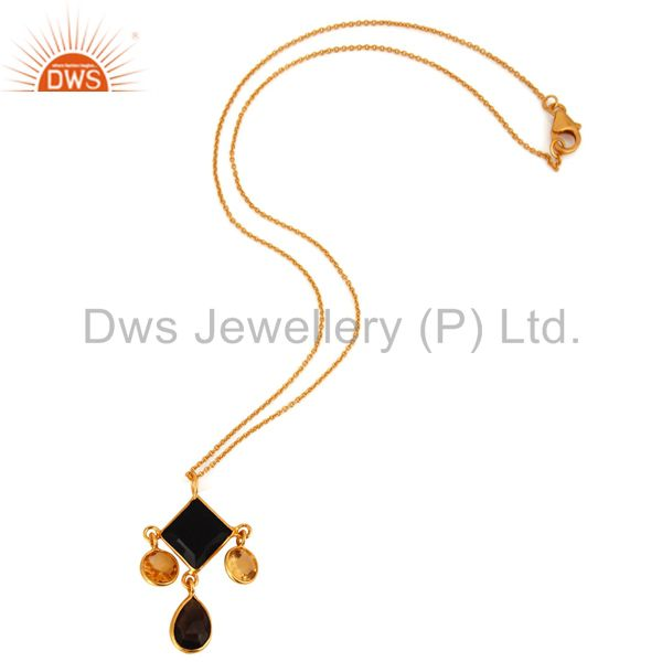 Wholesale Handmade 18K Gold Plated Sterling Silver Citrine & Black Onyx Designer Pendant
