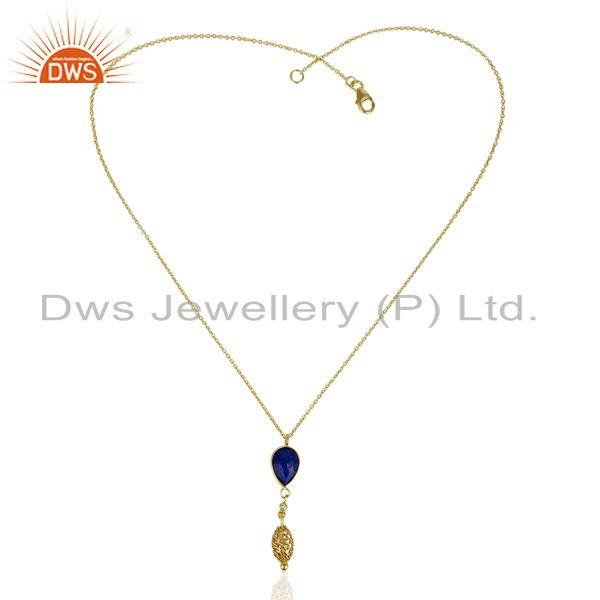 Manufacturer of Natural Lapis 14K Gold Plated Filigree 92.5 Sterling Silver Pendent