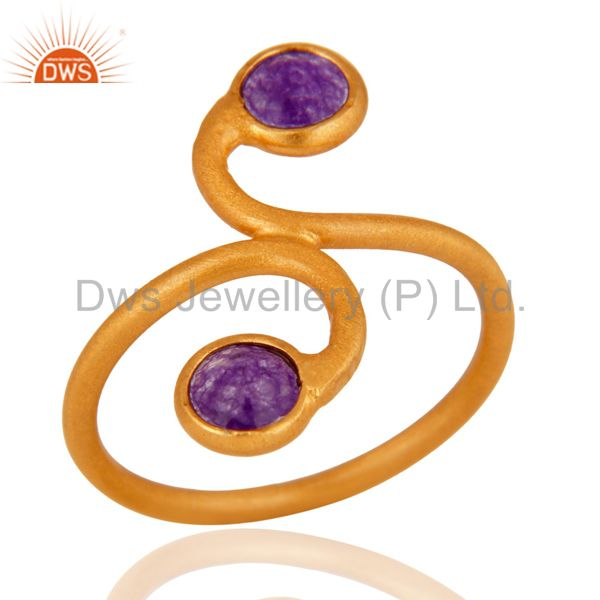 Supplier of 18K Gold Plated 925 Sterling Silver Purple Aventurine Gemstone Handmade Ring