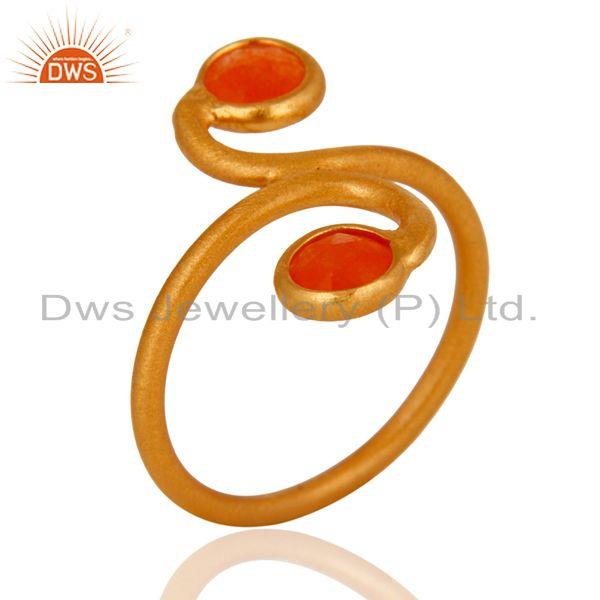 Manufacturer of Handmade Orange Aventurine Gemstone Ring Made In 18K Gold Over Sterling Silver