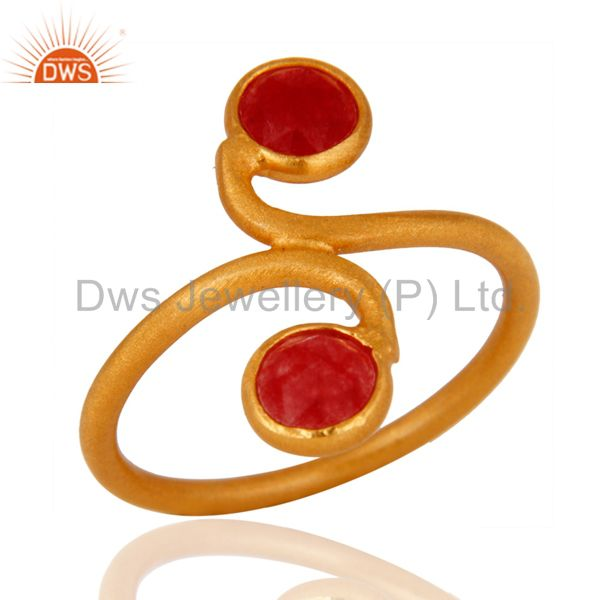 Manufacturer of New Arrival !925 Sterling Silver Red Aventurine Gemstone Ring With Gold Plated