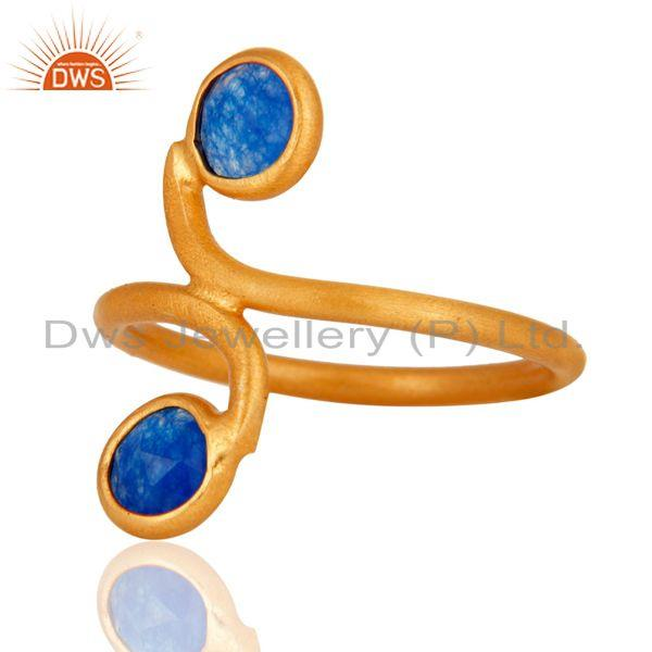 Wholesale 22K Gold Plated 925 Sterling Silver Blue Aventurine Gemstone Ring