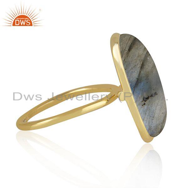 Wholesale Natural Labradorite Gemstone Gold Plated 925 Sterling Silver Ring