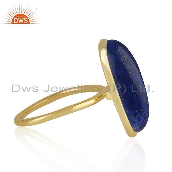 Manufacturer of Lapis Lazuli Gemstone Gold Plated 925 Sterling Silver Ring Wholesaler
