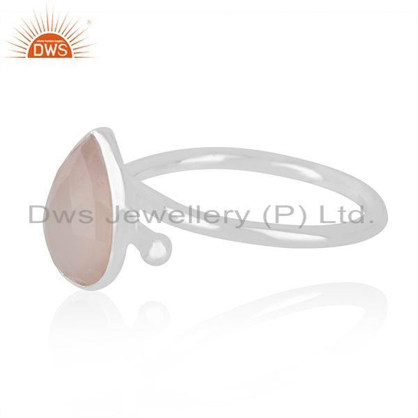 Supplier of Rose Chalcedony Gemstone Fine Sterling Silver Handmade Ring Jewelry