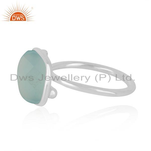 Manufacturer of Indian Handmade Fine Sterling Silver Chalcedony Aqua Gemstone Rings