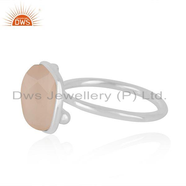 Supplier of Rose Chalcedony Gemstone Handmade 925 Sterling Silver Ring wholesale