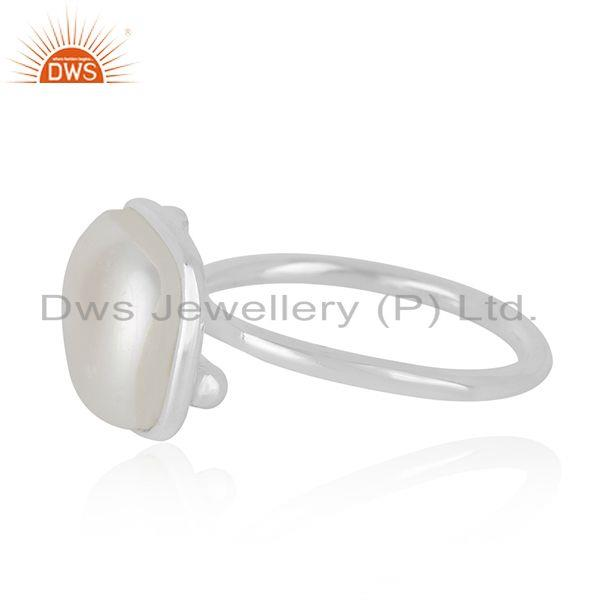 Manufacturer of Natural White Pearl Gemstone Fine Sterling Silver Handmade Ring