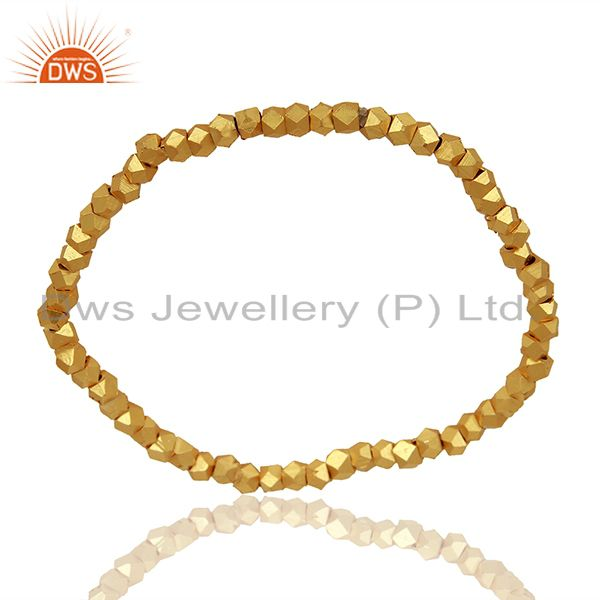 Manufacturer of 18K Yellow Gold Plated Brass Ladies Fashionable Stretch Bracelet Jewelry