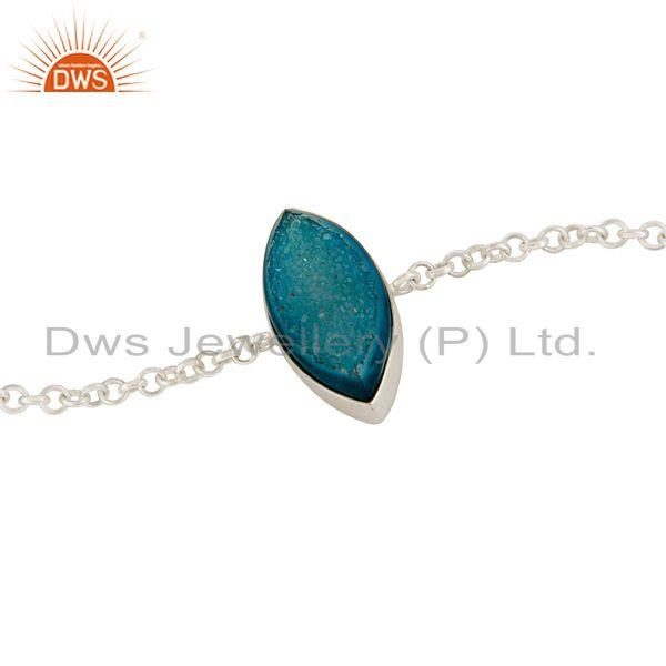 Exporter Marquise Cut Natural Blue Druzy Solid Sterling Silver Chain Bracelet