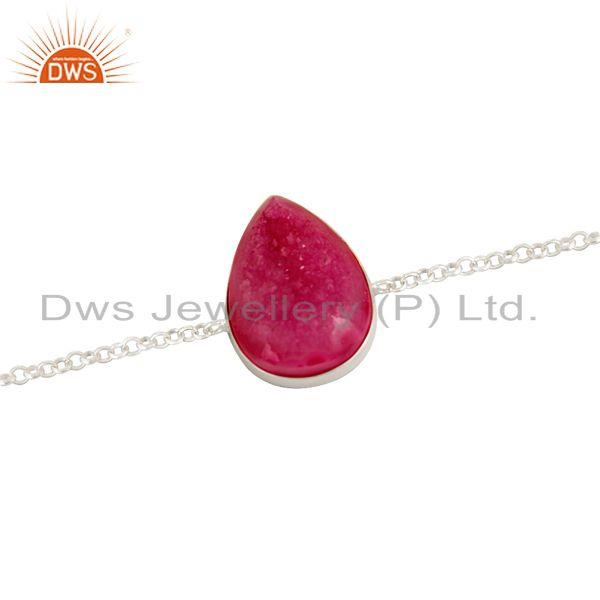 Exporter Natural Pink Druzy Agate Pear Shape Sterling Silver Chain Bracelet