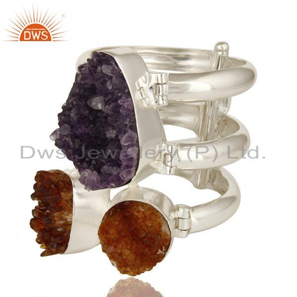 Supplier of Handmade sterling silver amethyst and citrine druzy wide bangle