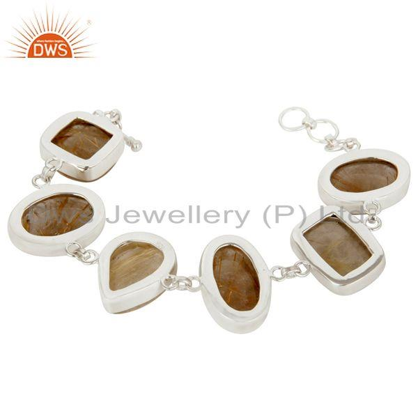 Exporter Handmade Sterling Silver Golden Rutilated Quartz Bezel Set Gemstone Bracelet
