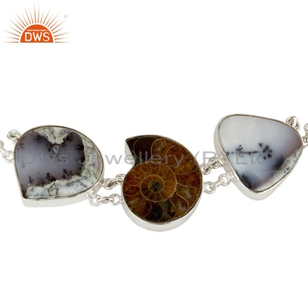 Exporter Natural Ammonite, Lapis Lazuli And Dendritic Opal Sterling Silver Bracelet