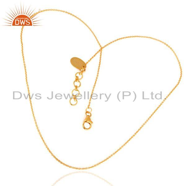 Exporter 18K Yellow Gold Plated Sterling Silver Link Chain With Lobster Lock