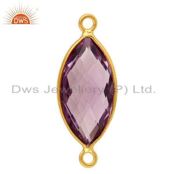 Exporter Natural Amethyst Gemstone Sterling Silver Bezel-Set Connectors - Gold Plated