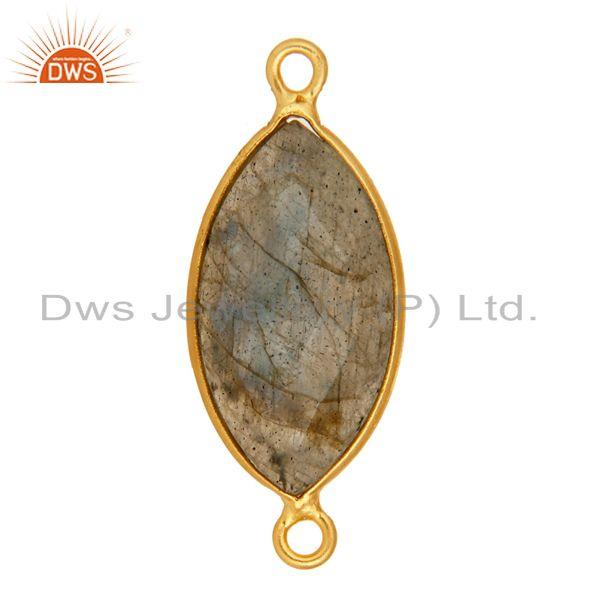 Exporter 18K Yellow Gold Plated Sterling Silver Labradorite Gemstone Connector Jewelry