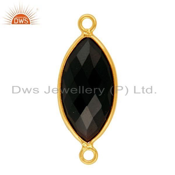 Exporter Natural Black Onyx Bezel Gemstone Sterling Silver Connectors Jewelry - Gold Verm