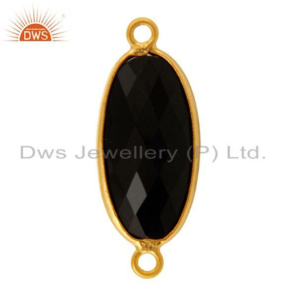 Exporter Faceted Black Onyx Bezel-Set Gemstone Sterling Silver Connectors - Gold Plated